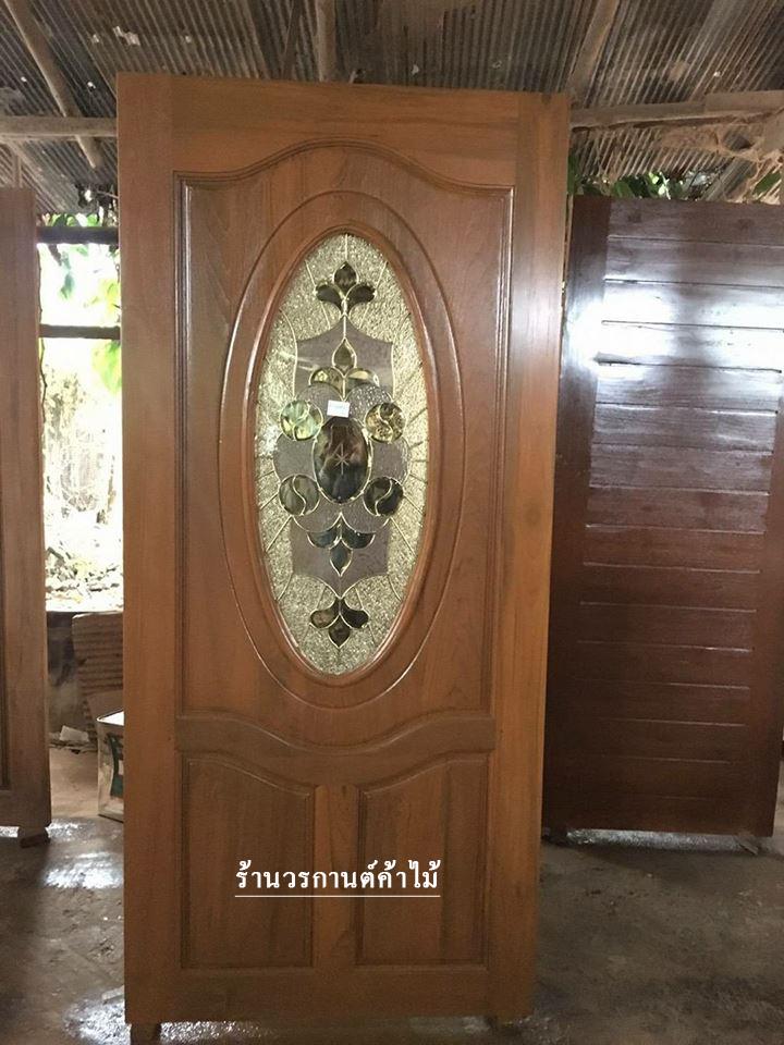 ประตูไม้สักกระจกนิรภัย วงรี เกรดA รหัส A43