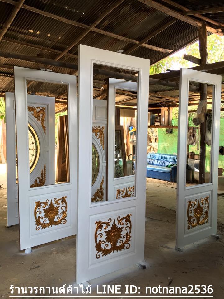 ประตูไม้สักกระจกนิรภัยครึ่งบาน สีขาว เกรดA รหัส A27
