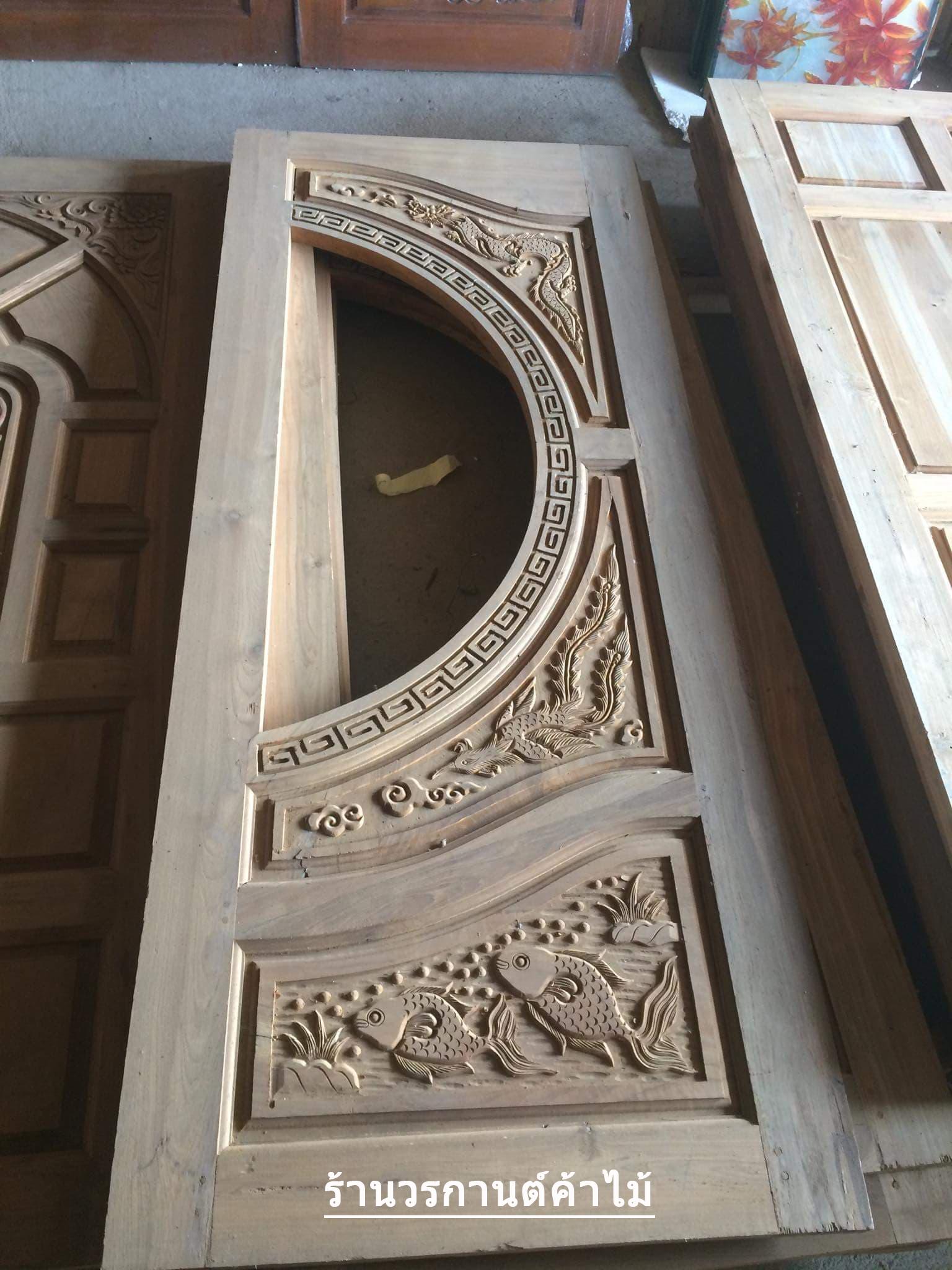 ประตูไม้สักกระจกนิรภัย เกรดA รหัส AA60