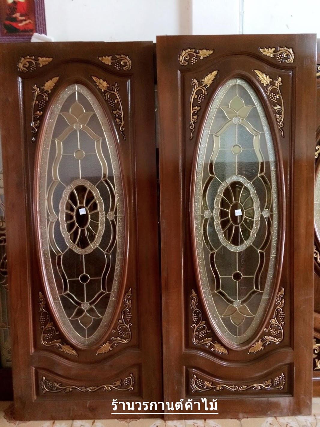 ประตูไม้สักกระจกนิรภัยวงรี แกะองุ่น เกรดA รหัส A88