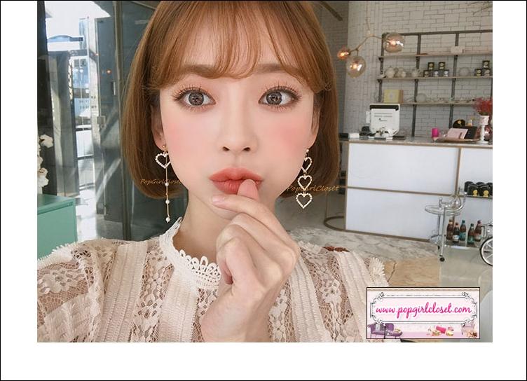 ต่างหูแฟชั่นสไตล์เกาหลี Korean Charm Pearl Tassel Crystal Love Heart Drop Earring Luxury Jewelry Haul ดีไซน์ฮิตเกาหลีค่ะ