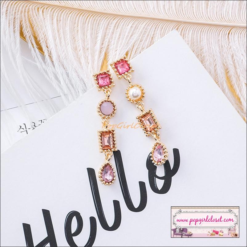 ต่างหูแฟชั่นสไตล์เกาหลี Luxury Rhinestone Charm Pearl Drop Dangle Earring