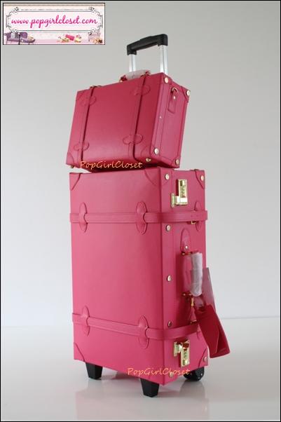 """กระเป๋าเดินทางดีไซน์วินเทจสไตล์เกาหลี ออริจินัล 2 ล้อลาก Red Rose Lovely Vintage Suitcase Korea&Japan Style หนัง PU high grade ขนาดไซส์สั่งทำใบล้อลากตั้งแต่ 17"""", 20"""", 22, 24"""", 28"""" และ 30"""" และใบเล็กวินเทจแบบสะพายไซส์ 14"""" ค่ะ ("""
