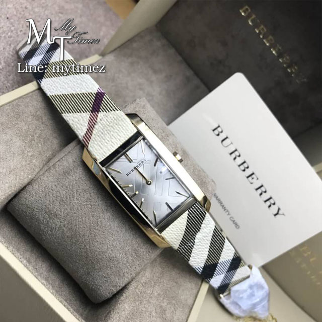 ฺBurberry The Pioneer Silver Check-stamped Dial Haymarket Check Ladies Watch BU9407