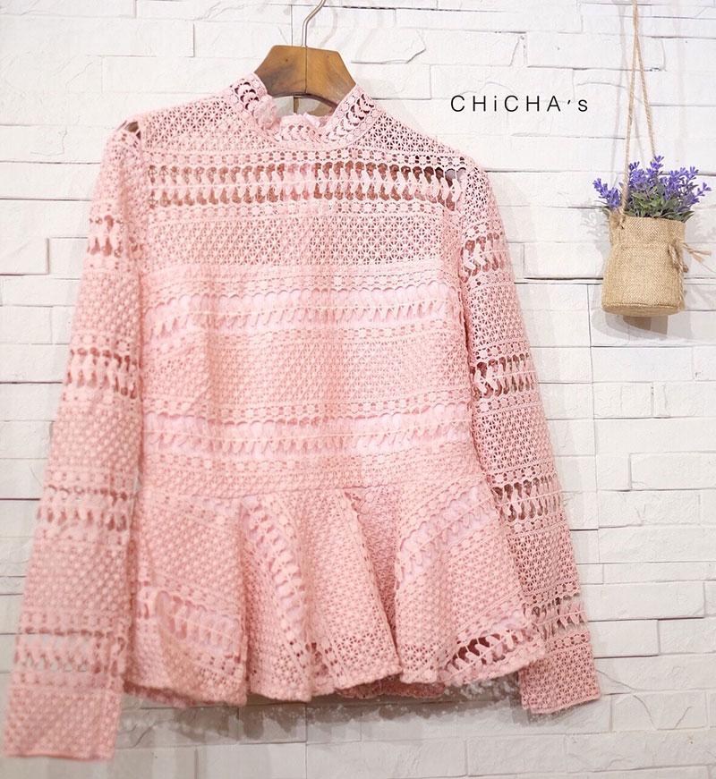 เสื้อลูกไม้แฟชั่น Lady Fabulous Lace Blouse by MyStyle สีชมพู