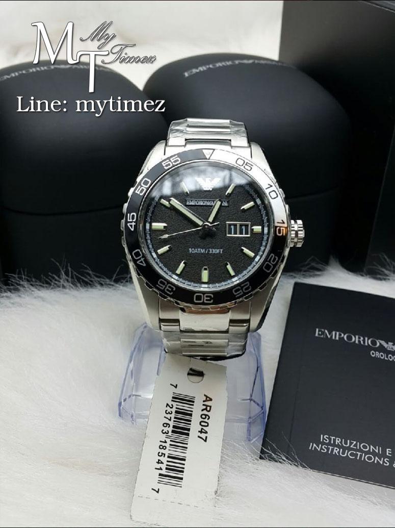 นาฬิกาข้อมือ Emporio Armani Men's Sportivo Black Dial Stainless Steel AR6047