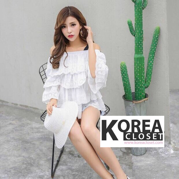 เสื้อแฟชั่น Eyelet Lace Panel Off-Shoulder Blouse