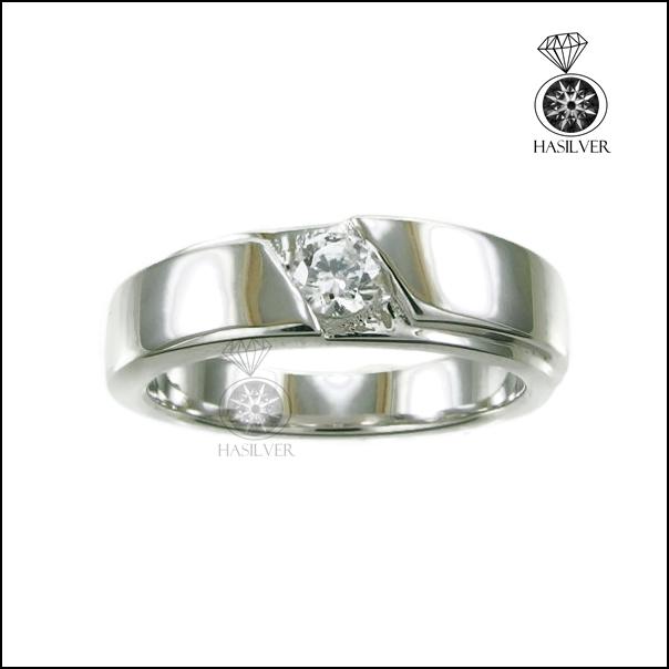 แหวนเงินแท้ แหวนเพชรCZ แหวนเพชรรัสเซียชาย เท่ๆ