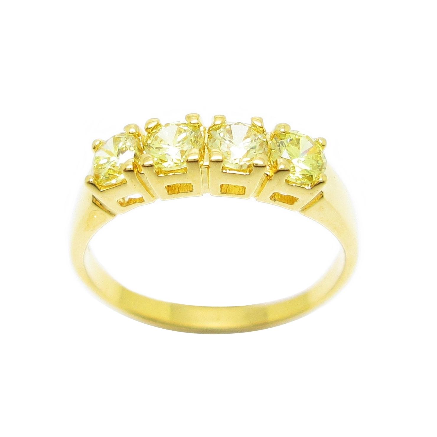 แหวนแถวประดับพลอยบุศราคัมชุบทอง