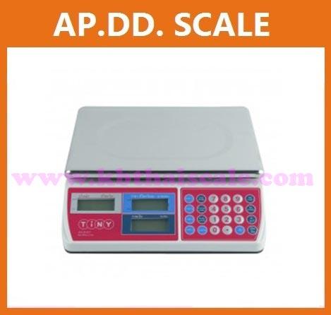 เครื่องชั่งดิจิตอล แบบคำนวณราคา ยี่ห้อTINY ชั่งน้ำหนักได้ 30กิโลกรัม ความละเอียด 10 กรัม (พร้อมใบตรวจรับรองจากสำนักงานกลางชั่งตวงวัด)