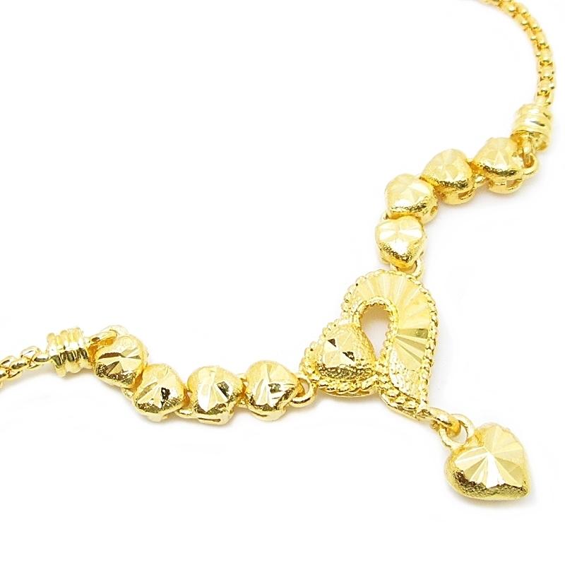 สร้อยคอสังวาลย์ระย้าประดับหัวใจตัดลายชุบทอง