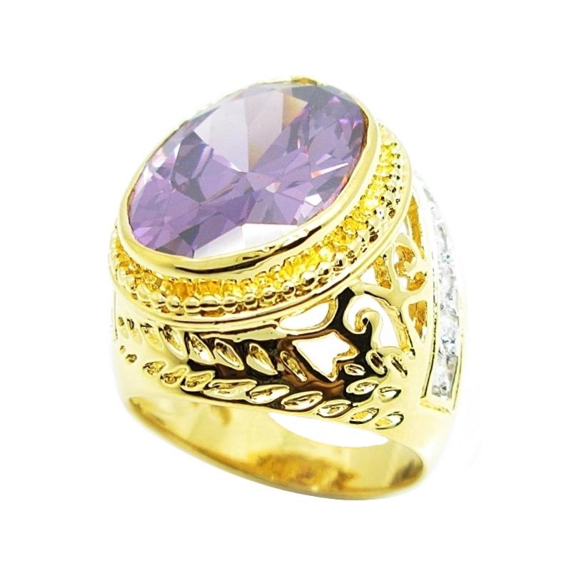 แหวนผู้ชายลายฉลุพลอยรูปไข่อเมทิส14x18มิลประดับเพชรจิกไข่ปลาชุบทอง