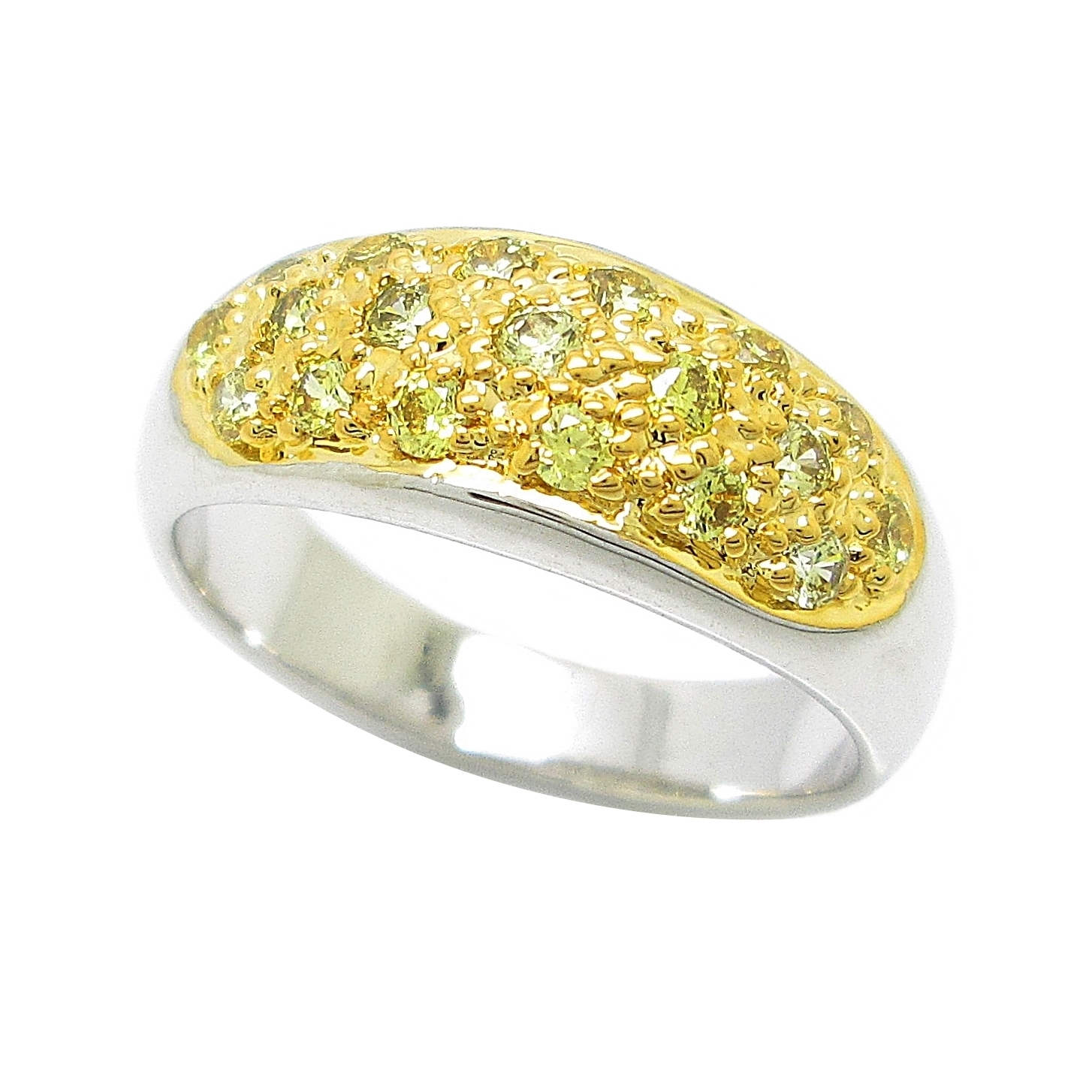 แหวนประดับพลอยบุศราคัมจิกไข่ปลาชุบทองคำขาว