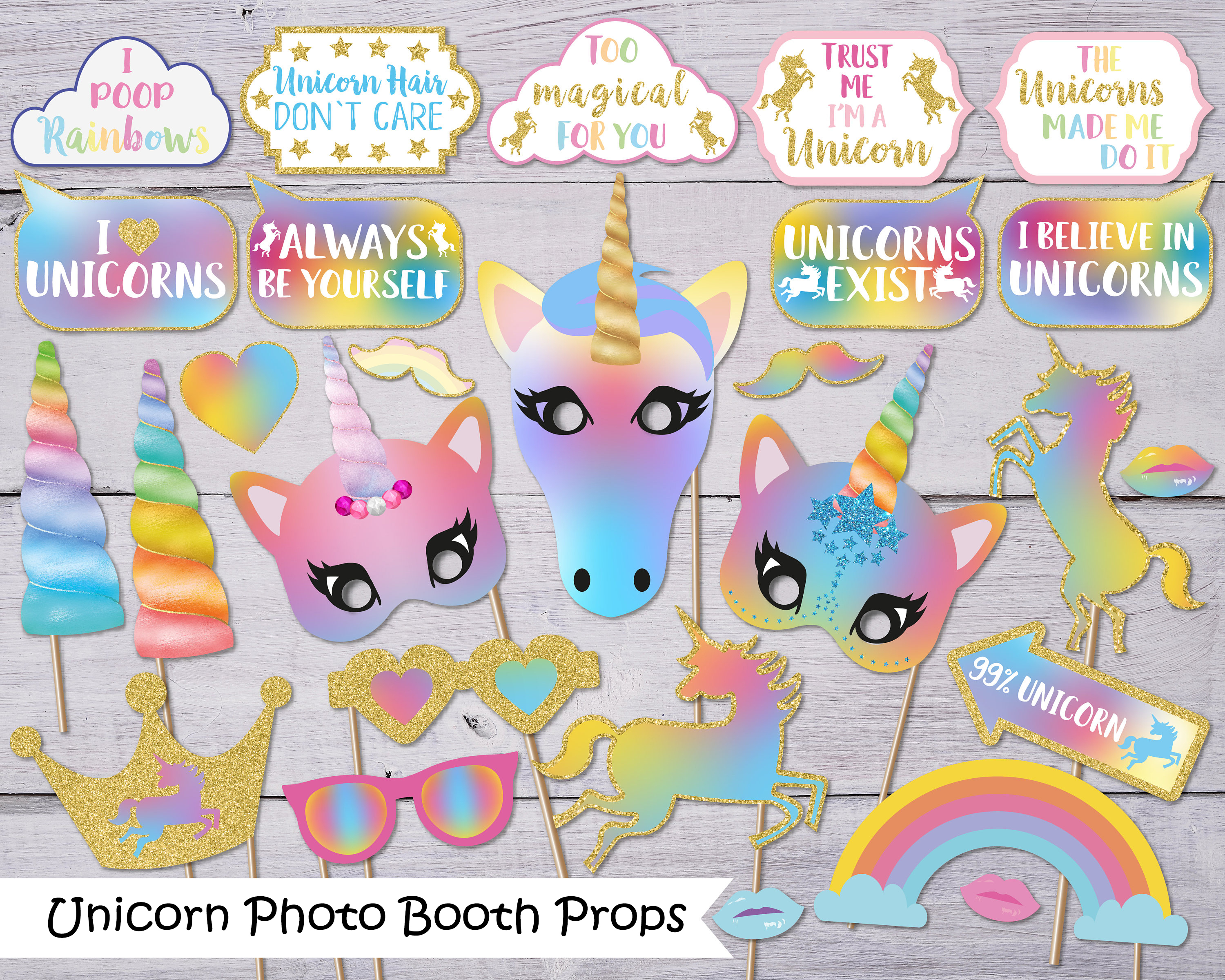 BELIEVE IN UNICORN Photo Prop Set