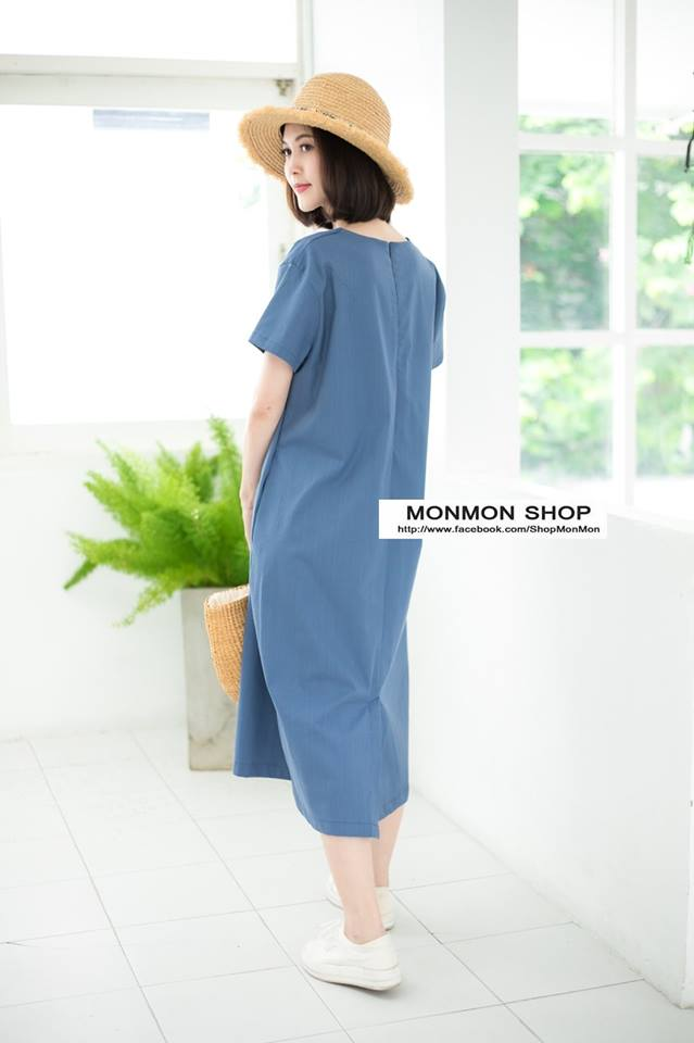 V-neck Short-sleeved Maxi dress👗_Blue