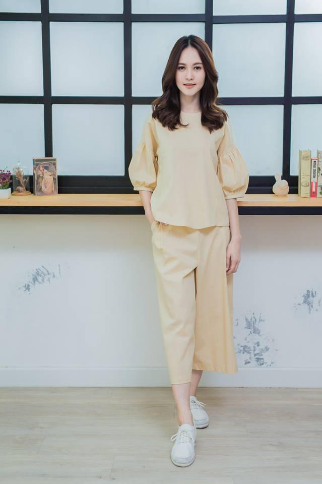 Balloon sleeve top + pants set _cream