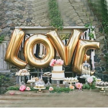 ฟอยล์อักษร LOVE [ยกเซต 4 ตัว] ใหญ่ 32 นิ้ว-สีทอง