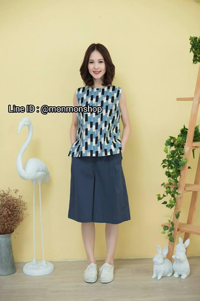 Graphic printed Sleeveless top + pants set_Blue