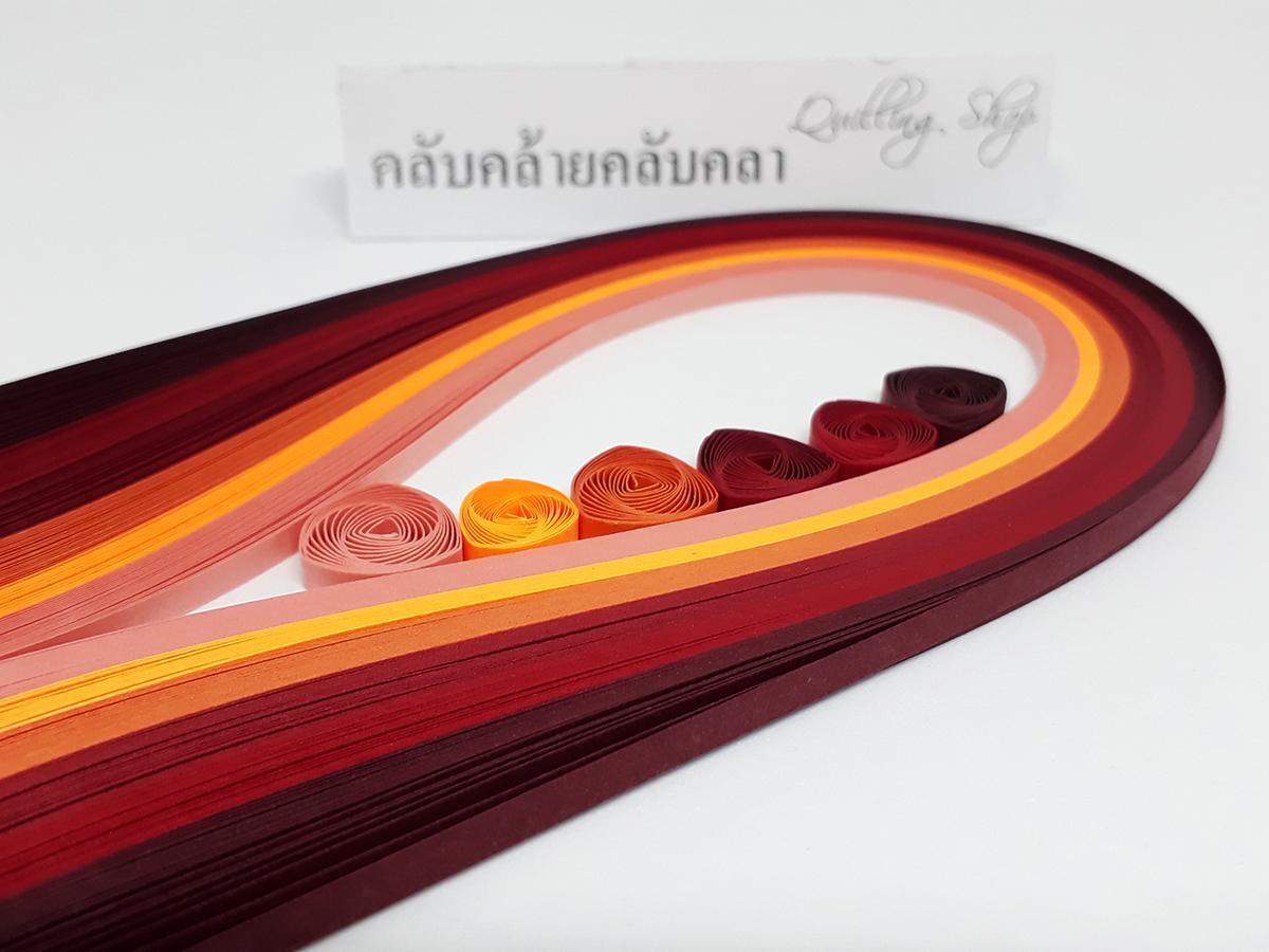 กระดาษ 3mm โทนสีแดง 6 สี รวม 120 เส้น (Quilling paper strips 3 mm red tone)