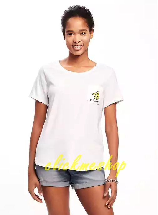 ( ไซส์ XXL หน้าอก 46-48 นิ้ว) เสื้อยืด สีขาว ยี่ห้อ Oldnavy มีกระเป๋าอก สกรีนลายกล้วย สำเนา สำเนา