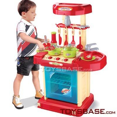 ชุดโต๊ะครัวกระเป๋าหิ้ว New Kitchen Set ส่งฟรีสีฟ้า