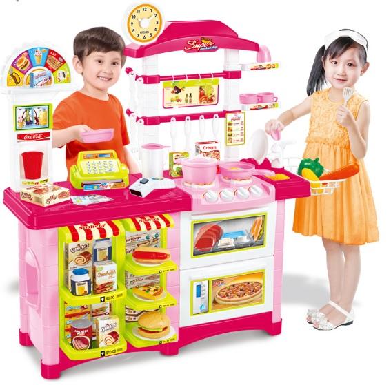 ชุดโต๊ะครัวช็อปปิ้งชุดใหญ่ king kitchen สีชมพู ส่งฟรี