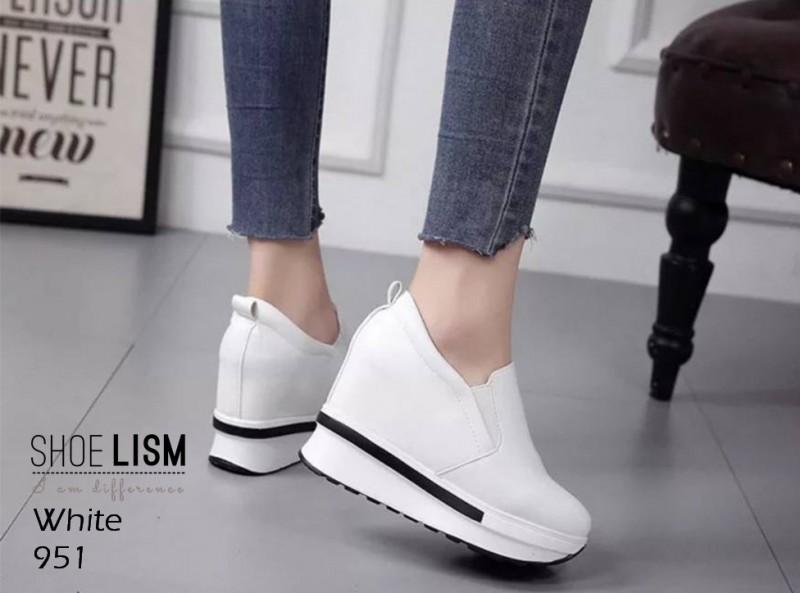 รองเท้าหนัง pu งานเกาหลี 951-ขาว WHITE