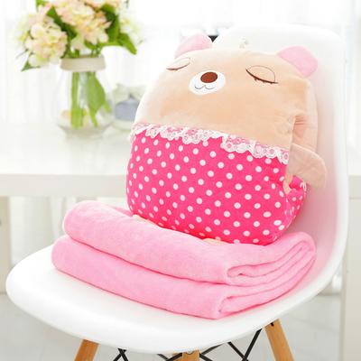 หมอนผ้าห่ม ลายเจ้าหมีน้อยหลับปุ๋ย สีชมพู