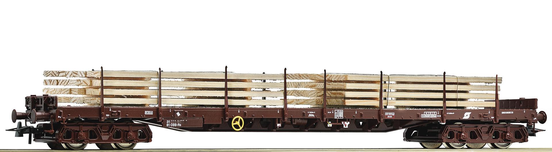 Roco76772 OBB flat car with wood load