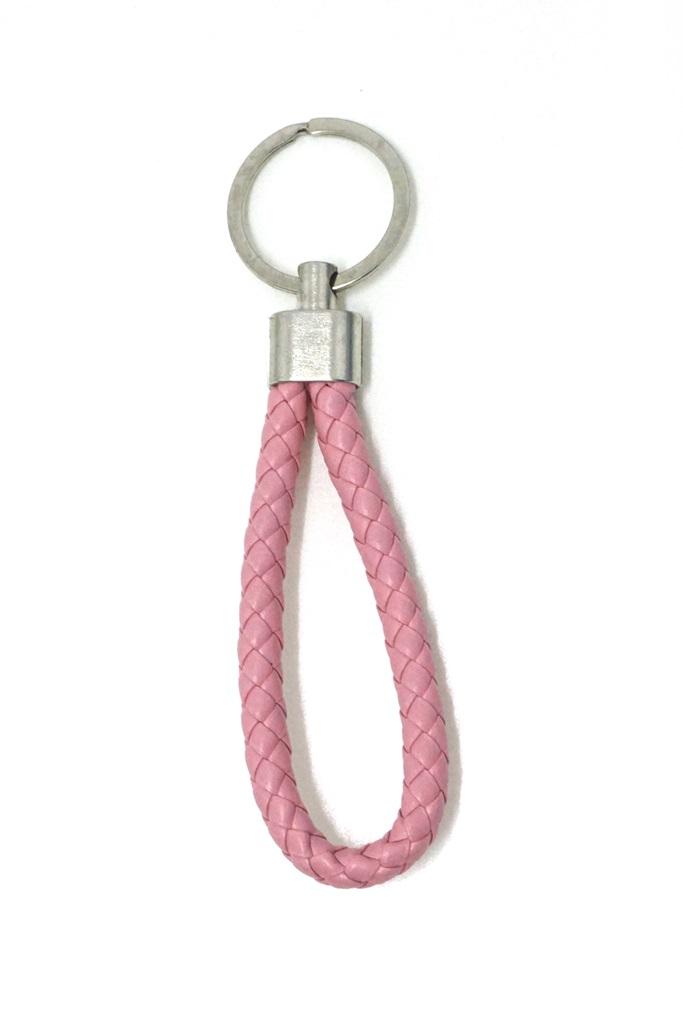 พวงกุญแจ(หนังเทียม)ห้อยกระเป๋า เกลียวสีชมพู 12อัน