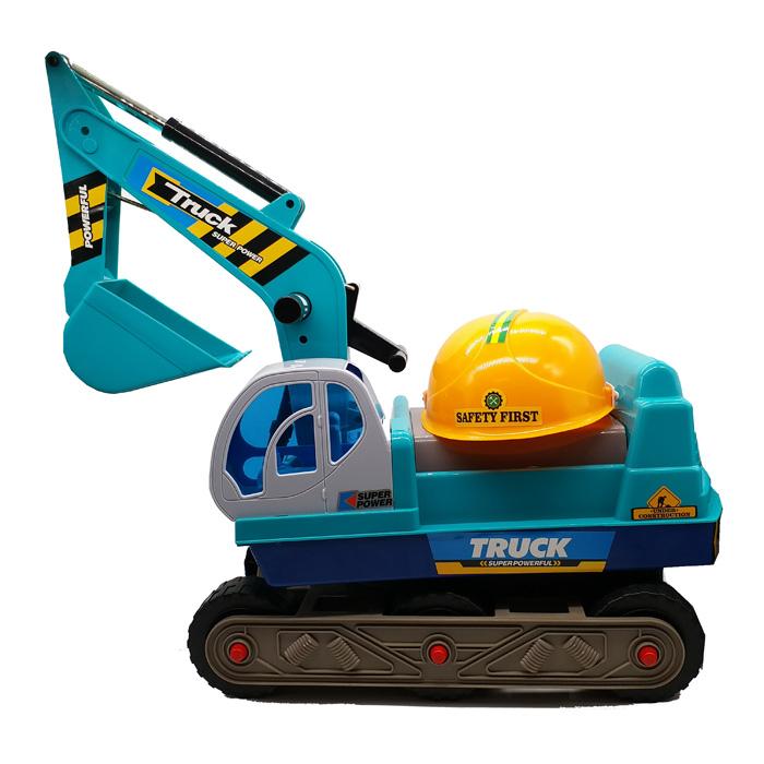 รถขาไถก่อสร้างสีฟ้า พร้อมหมวกกันน็อค