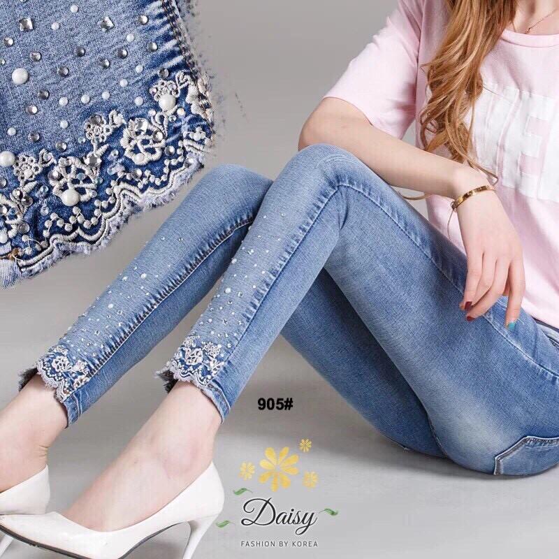 กางเกงยีนส์ทรงเดฟผ้ายีนส์ฮ่องกงปลายขาประดับเพชร