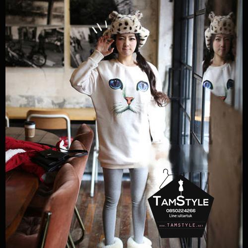 """Top -123 เสื้อแฟชั่น เสื้อกันหนาว สีขาว แขนยาว ผ้าหนา ลายแมว มีลาย อก 40"""" ยาว 32"""" (เสื้อกันหนาวพร้อมส่ง)"""