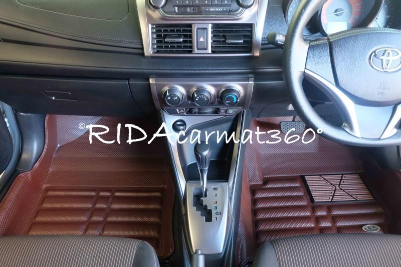 พรมปูพื้นรถยนต์ NEW YARIS 2013-17 สีน้ำตาล BY RIDA CAMAT 360
