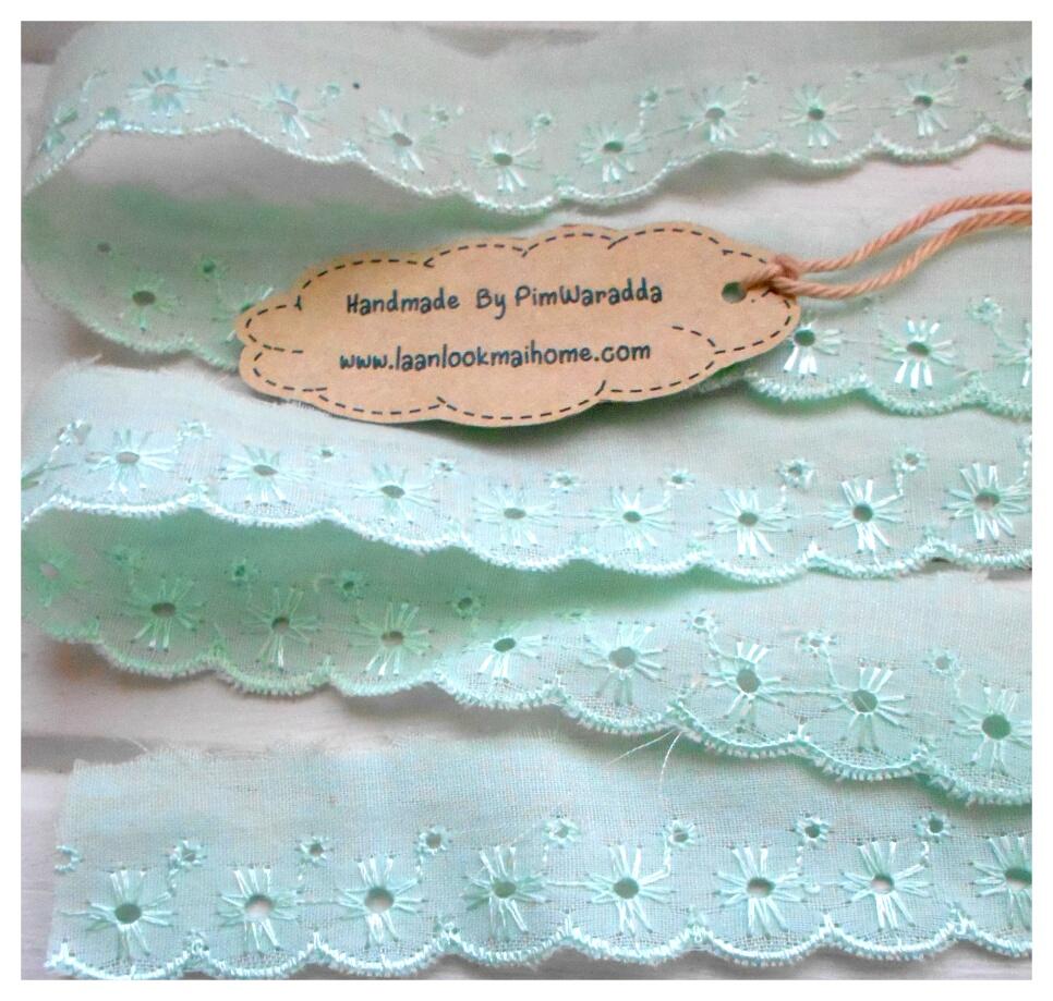 💨 ลูกไม้ผ้าสีเขียวช่วงลายกว้าง 1 cm