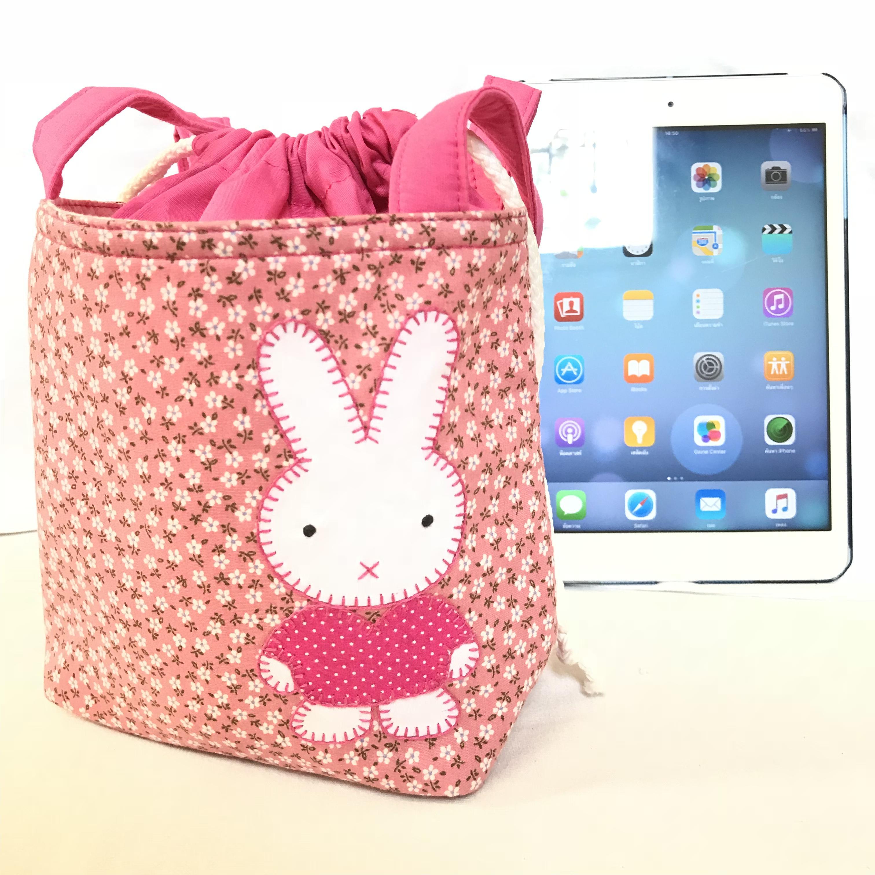 ** หมดค่ะ ** กระเป๋าหูรูด ลายกระต่าย สีชมพู