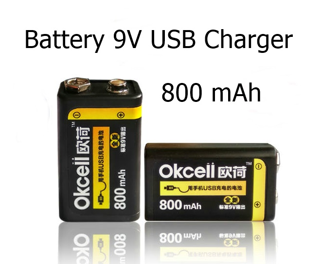 Battery 9V USB Charger LED