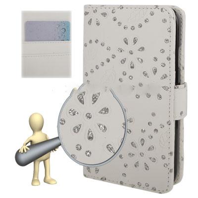 Case เคส แบบหนัง ประดับด้วยเพชร สีขาว Samsung GALAXY S4 IV (i9500)