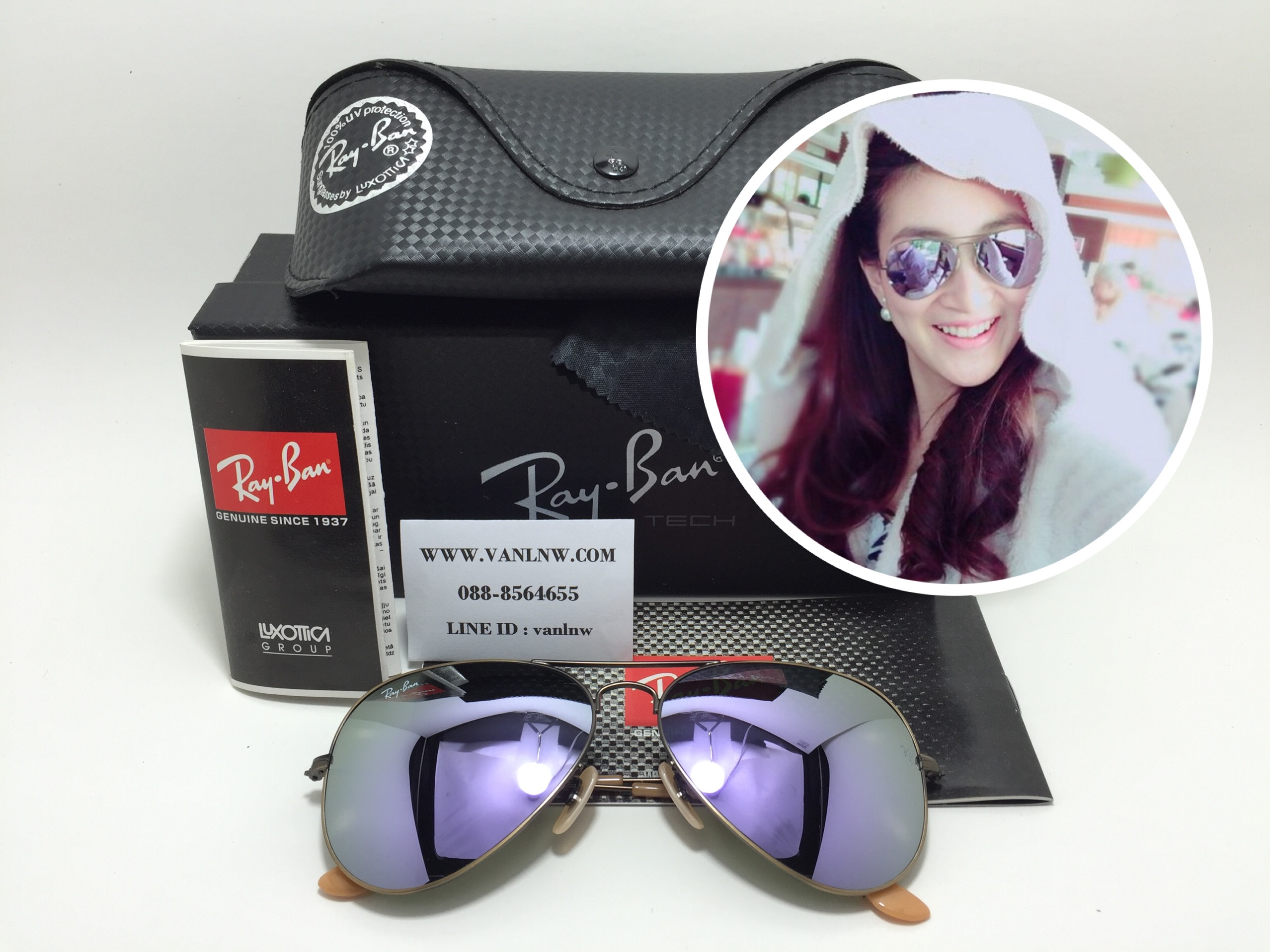 RB 3025 AVIATOR LARGE METAL 167/4K 58-14 3N <ปรอทม่วงอ่อน>