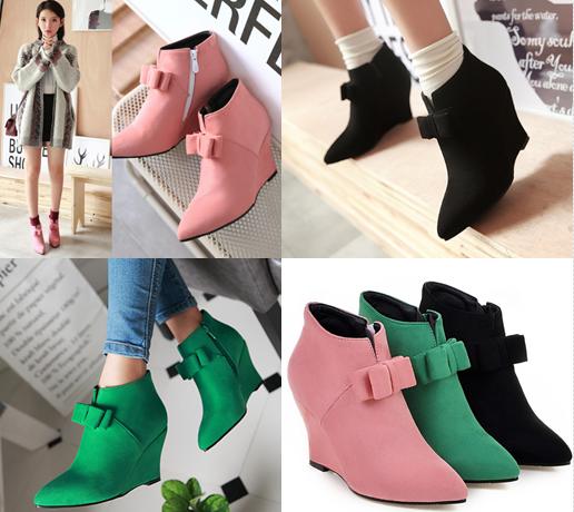 รองเท้าส้นเตารีดปลายแหลมสีชมพู/ดำ/เขียว ไซต์ 34-43