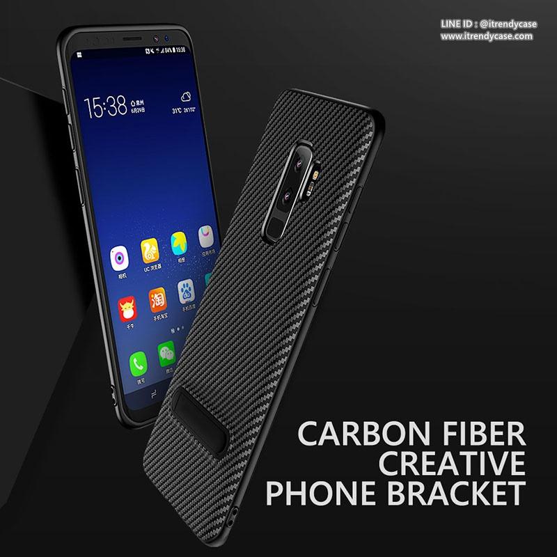 Samsung S9 - เคส TPU ลายเคฟล่า Carbon พร้อมขาตั้ง TOTU DESIGN แท้