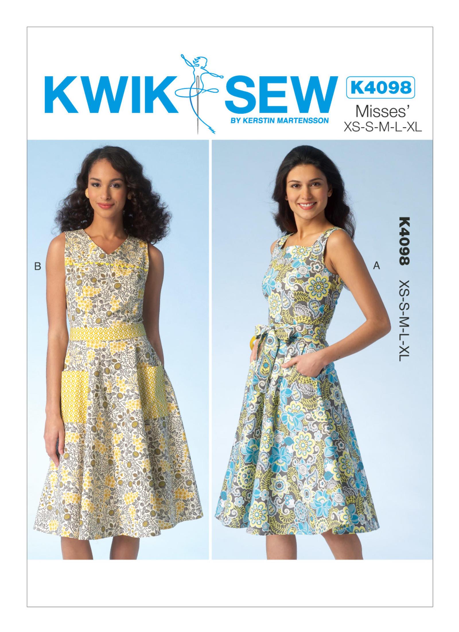 แพทเทิร์นตัดเดรสกระโปรงบาน Kwik Sew 4098 Size: XS-S-M-L-XL (อก 31.5 - 45 นิ้ว)