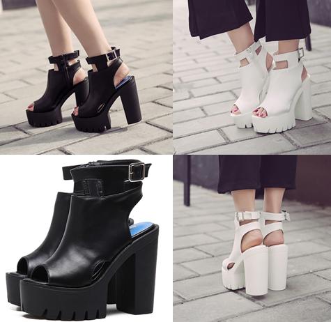 รองเท้าส้นสูง ไซต์ 35-39 สีดำ/ขาว