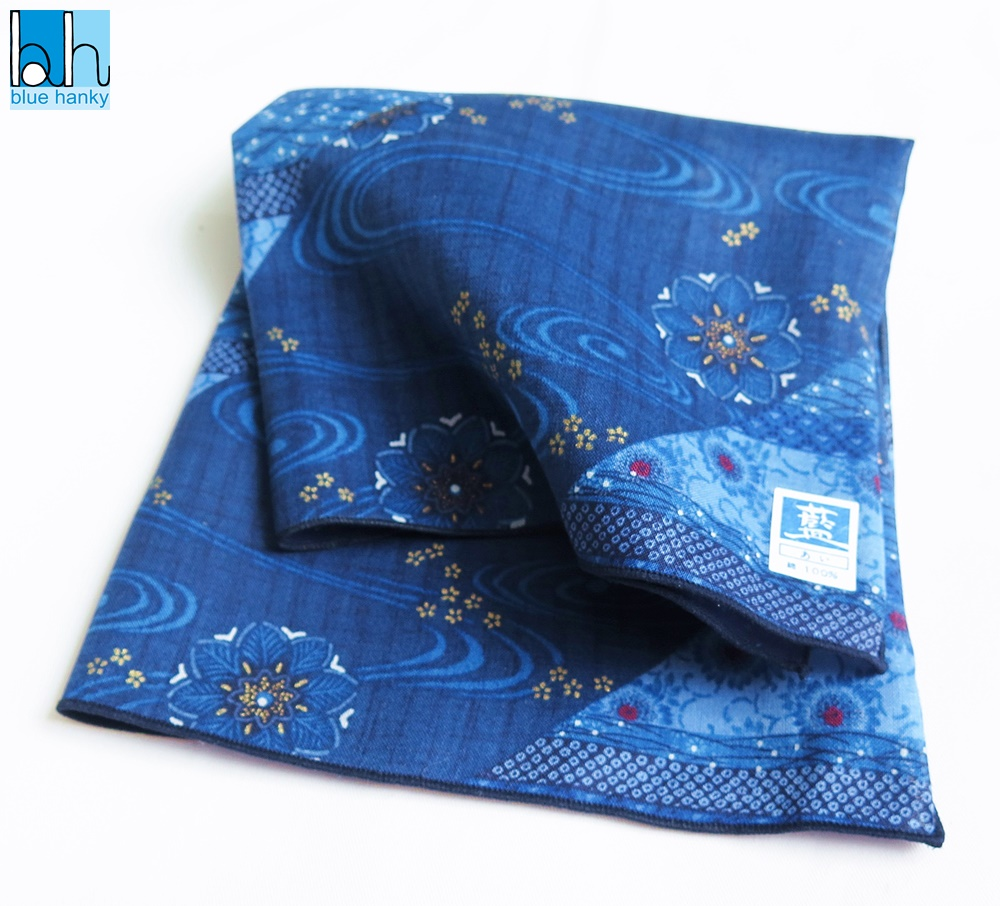 """#2 18"""" สีน้ำเงิน ผ้าเช็ดหน้าญี่ปุ่น ผ้าเช็ดหน้ามือ2 สภาพดี ผ้าเช็ดหน้าผืนใหญ่"""