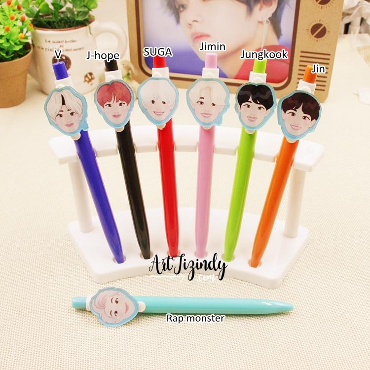ปากกาการ์ตูน BTS characters (ซื้อขั้นต่ำ 2 แท่ง)-ระบุสมาชิก