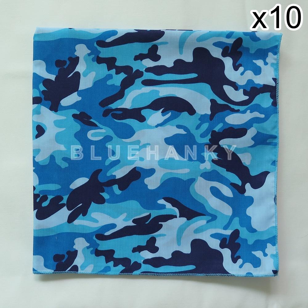 10 ผืน ผ้าพันคอ ผ้าโพกหัว ลายทหาร สีฟ้า ผืนใหญ่