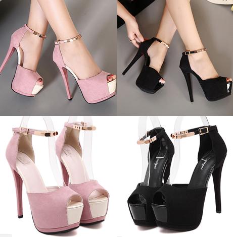 รองเท้าส้นสูง ไซต์ 34-39 สีดำ สีชมพู
