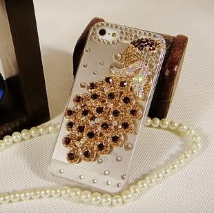 เคสไอโฟน 5/5s/SE (Case Iphone 5/5s/SE) ประดับเพชร รูปนกยูงสีแชมเปญ