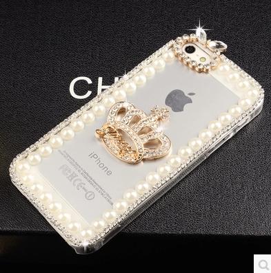 เคสไอโฟน 6 Plus / 6s Plus (Hard Case กรอบใส) ประดับเพชรมุกและ มงกุฏสีทอง
