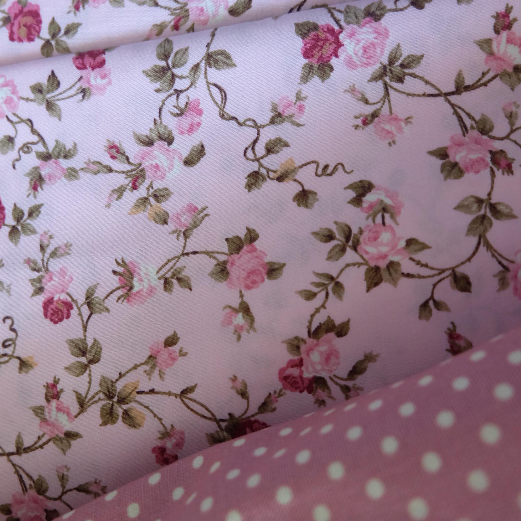 ผ้าคอตตอนไทย 100% 1/4 ม.(50x55ซม.) ลายดอกไม้ พื้นสีชมพู